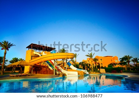 Aquapark in the exotic resort. Egypt.
