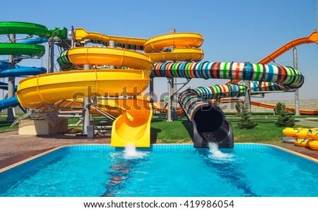 Aquapark sliders - stock photo