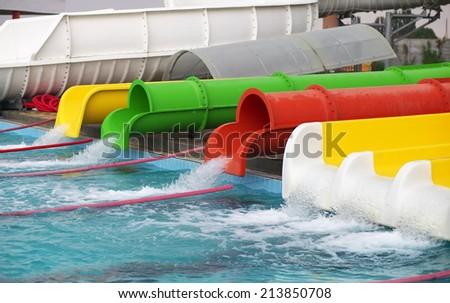 Aquapark sliders, aqua park, water park.  - stock photo