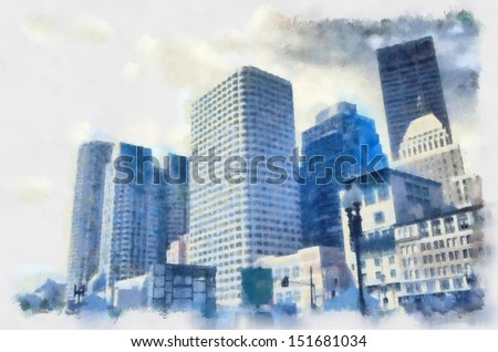 aquarelle of Boston Downtown cityskape in dark colors watercolor painting  - stock photo