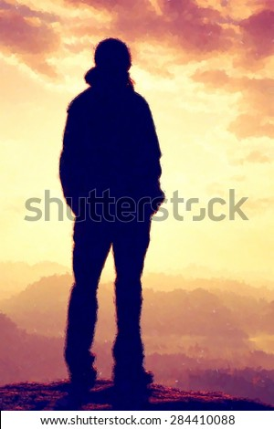 Aquarelle, Watercolor paint. Silhouette of young tourist with hands in pockets. Sunny spring daybreak in rocky mountains. Girl stand on rocky view point above misty valley. Painting effect.
