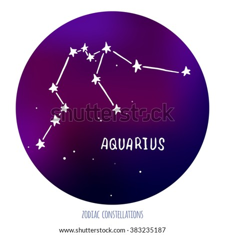 Aquarius sign. Zodiacal constellation made of stars on space background.