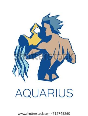 Aquarius Zodiac Sign Astrology Symbol Illustration Stock