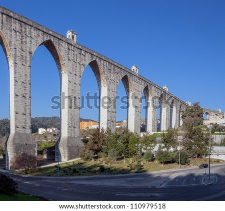 Aqueduct in the Lisbon built in 18th century, Portugal - stock photo