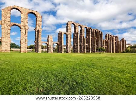 Aqueduct Los Milagros, Merida, Spain - stock photo