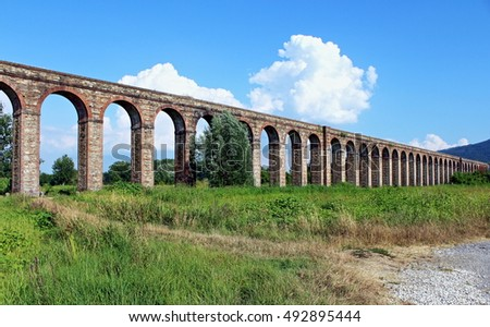 Aqueduct of Nottolini neoclassical architecture, today no longer used, open country Lucca Italy