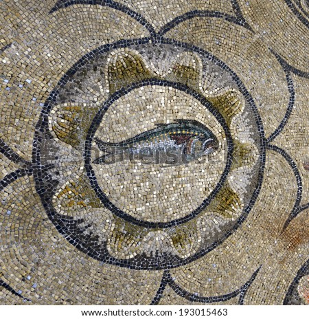 AQUILEIA, ITALY - MAY 4: Unique Roman mosaics of Basilica di Santa Maria Assunta on May 4, 2014. Aquileia is UNESCO World Heritage Site
