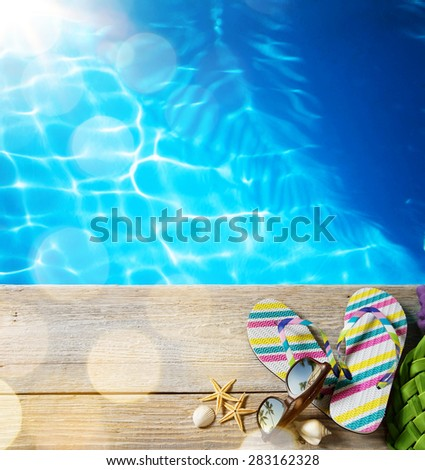 ar beach summer;  beach accessories - stock photo