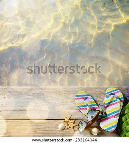 ar beach summer;  beach accessories - stock photo