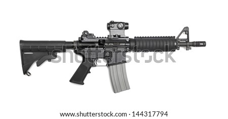 """AR-15 10,5"""" (M4A1 CQBR, Mk18 Mod.0) tactical carbine with the micro collimator (red dot) sight. Isolated on a white background. Weapon series. - stock photo"""