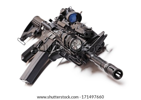 AR-15 (M4A1) tactical carbine with sniper sight, flashlight, AFG grip and PEQ (target pointer/illuminator/aiming) device on white background - stock photo