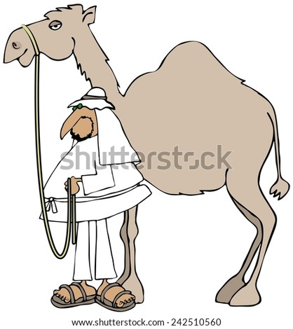 Arab and his camel - stock photo