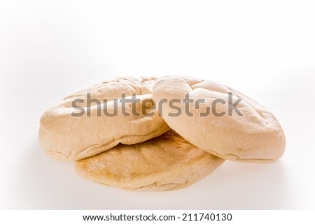 arab bread isolated on white background - stock photo
