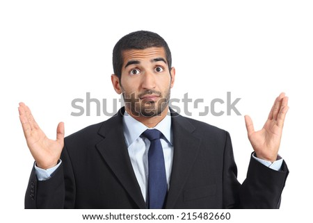 Arab business man with a doubt gesturing isolated on a white background - stock photo