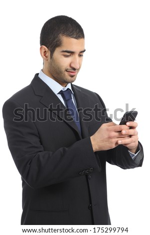 Arab business man working using a mobile phone isolated on a white background - stock photo
