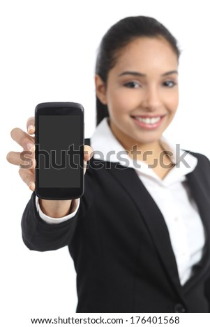 Arab business woman showing a blank smartphone screen application isolated on a white background                 - stock photo