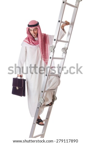 Arab businessman climbing the stairs on white