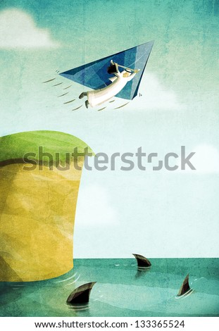 Arab Businessman gliding over risky waters with sharks. Risk Management and Business Continuity concept illustration. Economy and Business drawing. - stock photo