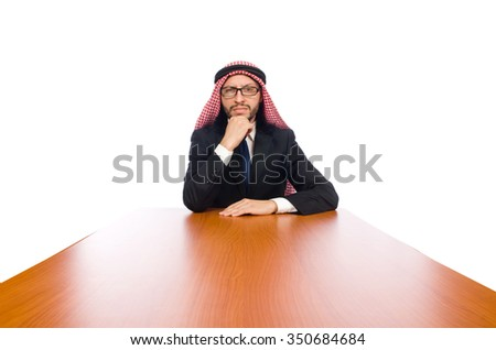 Arab businessman isolated on white - stock photo