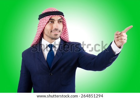 Arab businessman pressing virtual buttons - stock photo