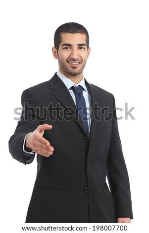 Arab businessman smiling ready to handshake isolated on a white background - stock photo