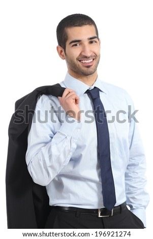 Arab businessman wearing suit posing standing isolated on a white background                - stock photo