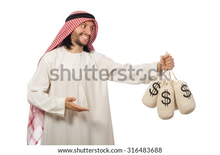 Arab businessman with sacks of money - stock photo