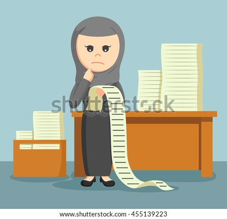 arab businesswoman confused with a list of all the tasks assigned to him