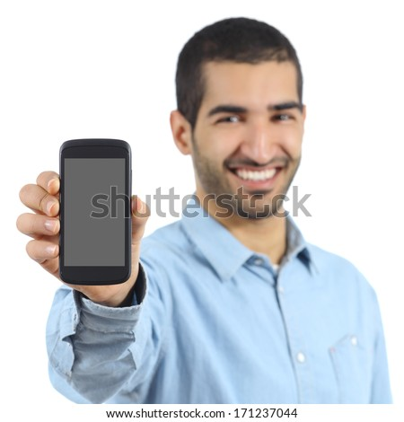Arab casual man showing a mobile phone application isolated on a white background - stock photo