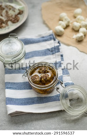 Arab cheese with za'atar in olive oil
