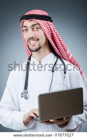 Arab doctor working in hospital