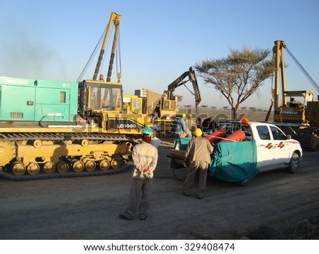 ARAB EMIRATES -  June 24, 2012: Construction of the oil pipeline. Preparation for construction and laying of pipelines.
