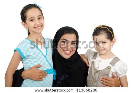 Arab Families - stock photo