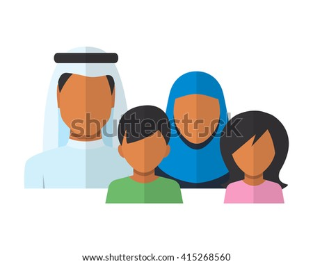 Arab Family members avatars in flat style. Father, mother, son and daughter, Illustration - stock photo