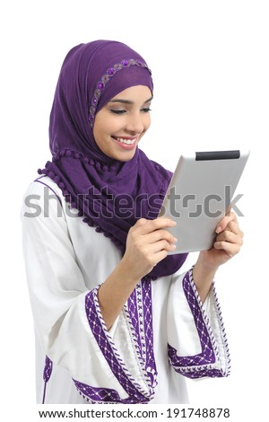 Arab happy woman reading a tablet reader isolated on a white background            - stock photo