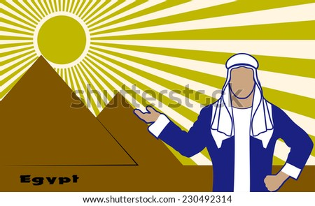 Arab in the background of Egyptian pyramids - stock photo