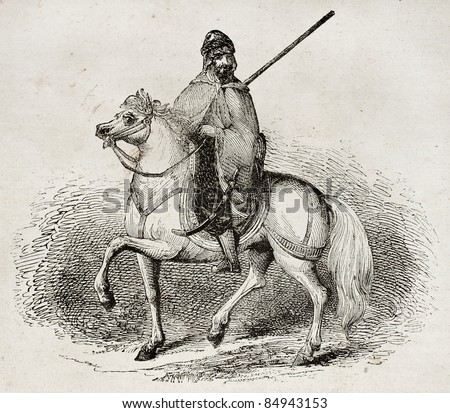 Arab knight old illustration. By unidentified author, published on Magasin Pittoresque, Paris, 1840 - stock photo