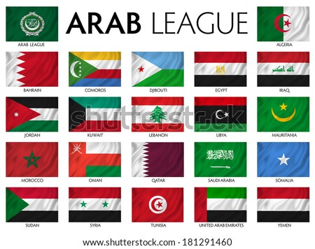Arab League Arab member countries. - stock photo