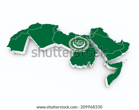 arab league flag on 3D map - stock photo
