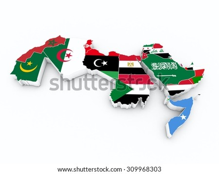 arab league member flags on 3D map