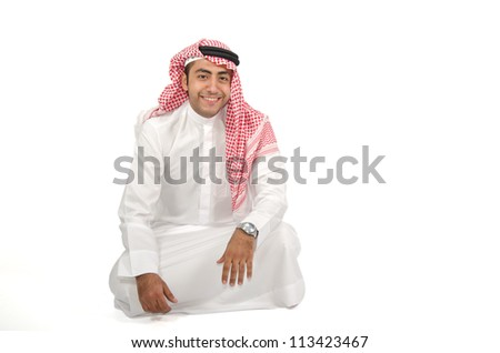 Arab man sitting on the floor