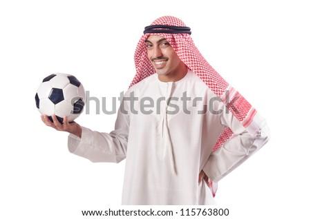 Arab man with football on white - stock photo