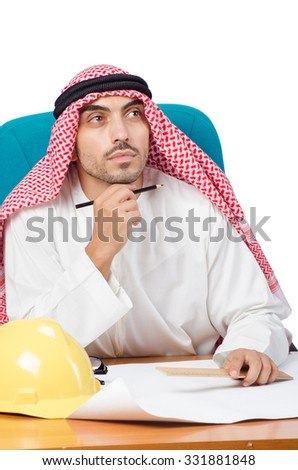 Arab man working in the office - stock photo