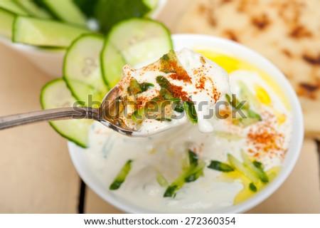 Arab middle east salatit laban wa kh�¢??yar Khyar Bi Laban goat yogurt and cucumber salad  - stock photo