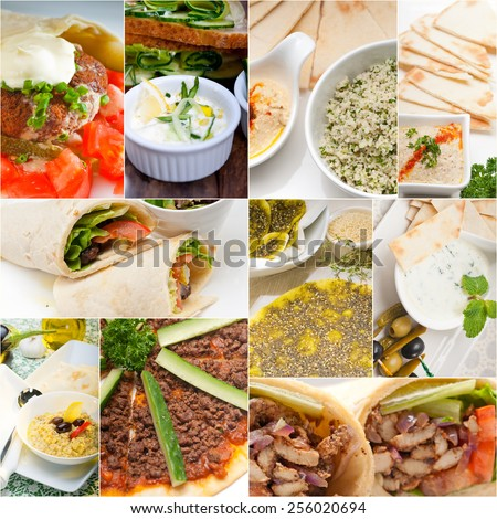 Arab middle eastern food collage collection on white frame - stock photo