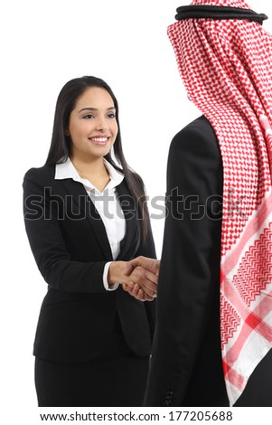 Arab saudi business man and woman handshaking isolated on a white background           - stock photo