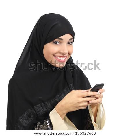 Arab saudi emirates smiling woman using a smart phone isolated on a white background              - stock photo