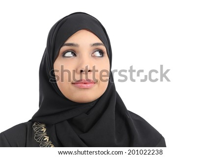 Arab saudi emirates woman face looking at side isolated on a white background - stock photo