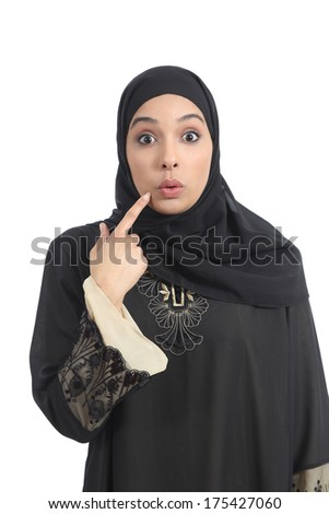 Arab saudi emirates woman gesturing oops isolated on a white background - stock photo