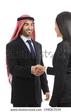 Arab saudi happy businessman handshaking in a negotiation isolated on a white background             - stock photo